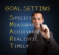 Biznesman wypisuje na tablicy: Goal Settings Specific Measurable Achievable Realistic Timely
