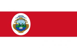 Na zewnątrz granatowe i białe pasy a w środku czerwony z herbem wyspy po lewej