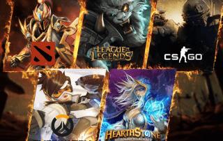 Grafiki z gier Dota 2 League of Legends Counter Strike Global Offensive Overwatch i Hearthstone
