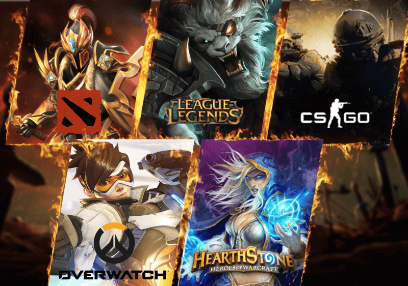Grafiki z gier Dota 2 League of Legends Counter Strike Global Offensive Overwatch i Hearthstone