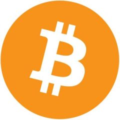 Biała duża litera B z podwójnymi wypustkami jak w dolarze u dołu i u góry w pomarańczowym kole na białym tle