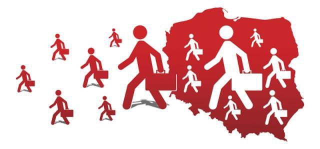 Czerwono białe ludziki wychodzą z Polski na Zachód