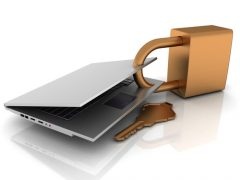 Ikonka laptopa spiętego grubą kłódką
