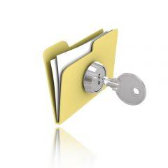 Ikonka foldera do którego włożony jest szary klucz