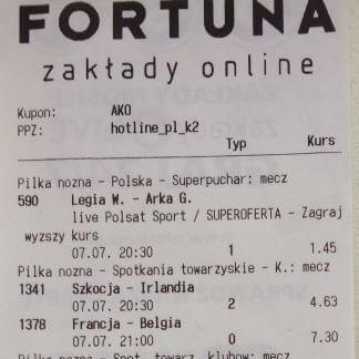 Kupon papierowy bukmachera Fortuna ze stawką 2 PLN z podatkiem obrotowym 12% i dochodowym 10% i sumą do wypłaty 2242.80 PLN