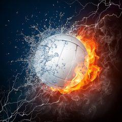 Piłka do siatkówki otoczona ogniem i wodą