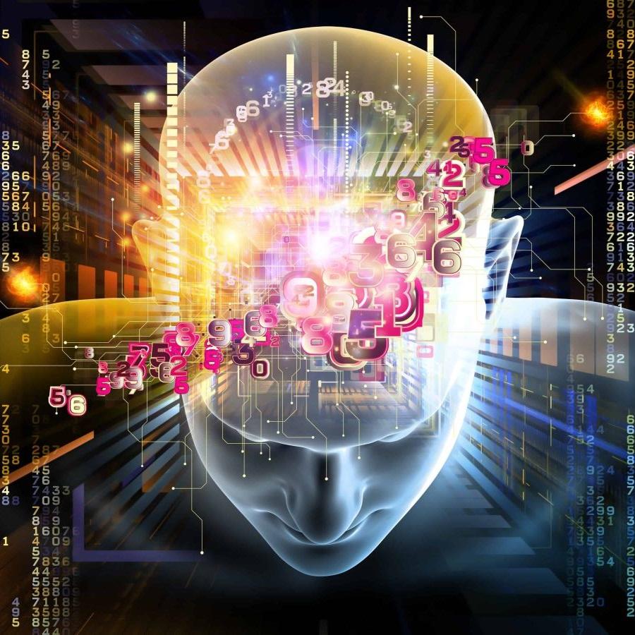 Model ludzkiej głowy widziana z góry z przodu w blasku i otoczeniu cyfr