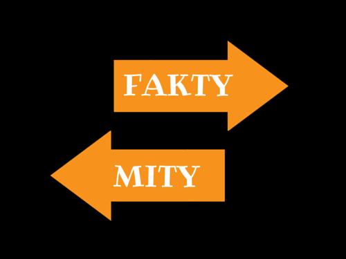 Pomarańczowa strzałka w prawo z napisem fakty i poniżej w lewo z napisem mity